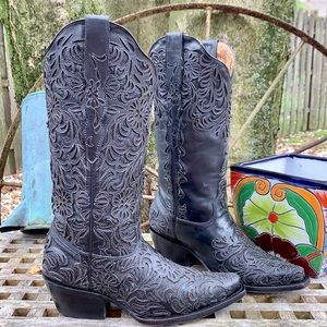 CORRAL Handcrafted Sequin Black Western Boots 7